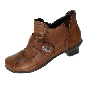 Rieker Brown Leather Low Heel Boots Size 40 US 9